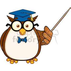 Royalty Free RF Clipart Illustration Wise Owl Teacher Cartoon Mascot  Character With A Pointer clipart. Royalty.