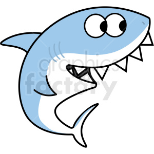 silly blue cartoon shark with large teeth vector clipart. Royalty.
