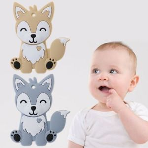 Details about Baby Teether Food Grade Silicone DIY Necklace Fox Animal  Teething Teeth Nursing.