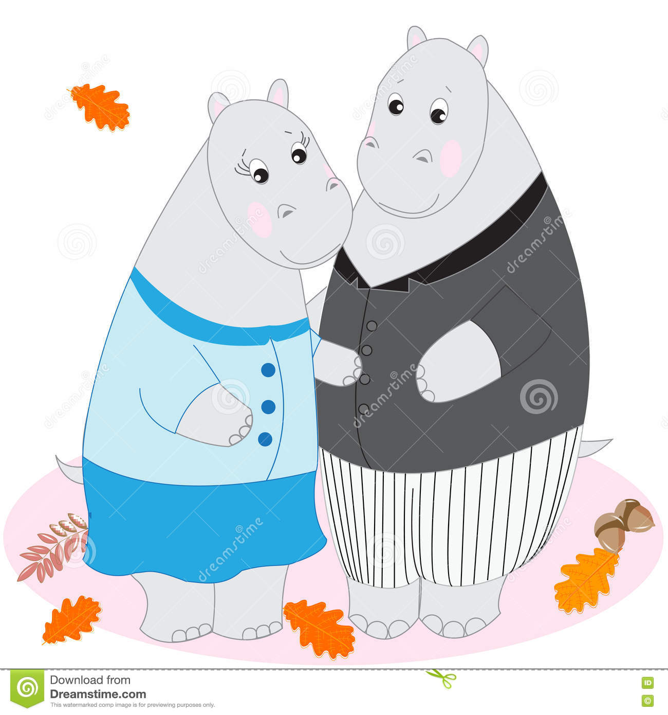 Cute Cartoon Animals, Doodle Drawing Hippos, Love And Tenderness.