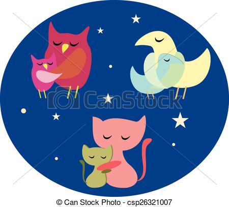 Vector Clipart of animals sleeping.