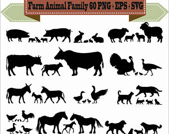 Duck Gull Farm Animal Chicken Duckling Silhouette Vector Clipart.