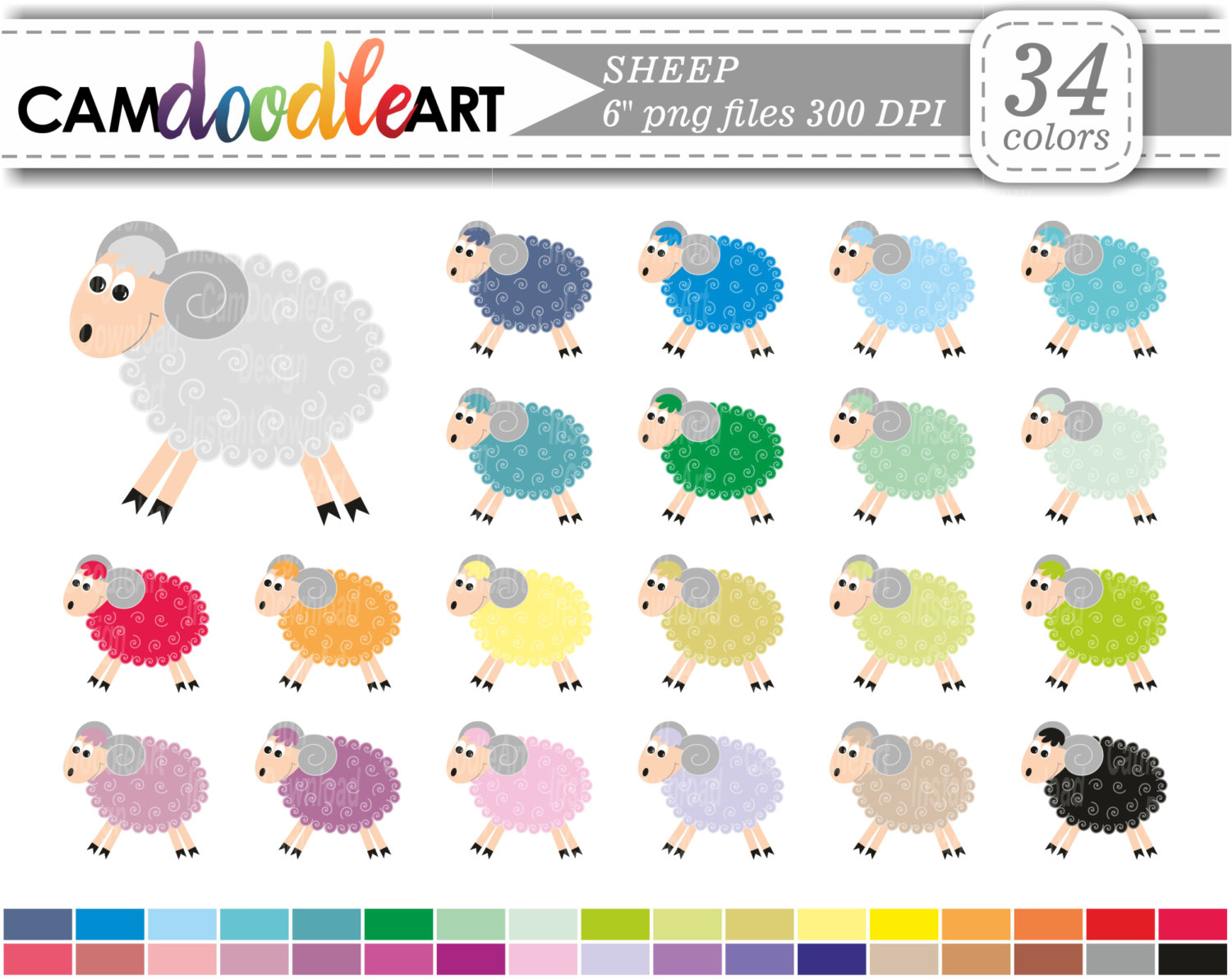 Sheep Clipart,Farm Animal Clipart,Cute Sheep,Funny Sheep.