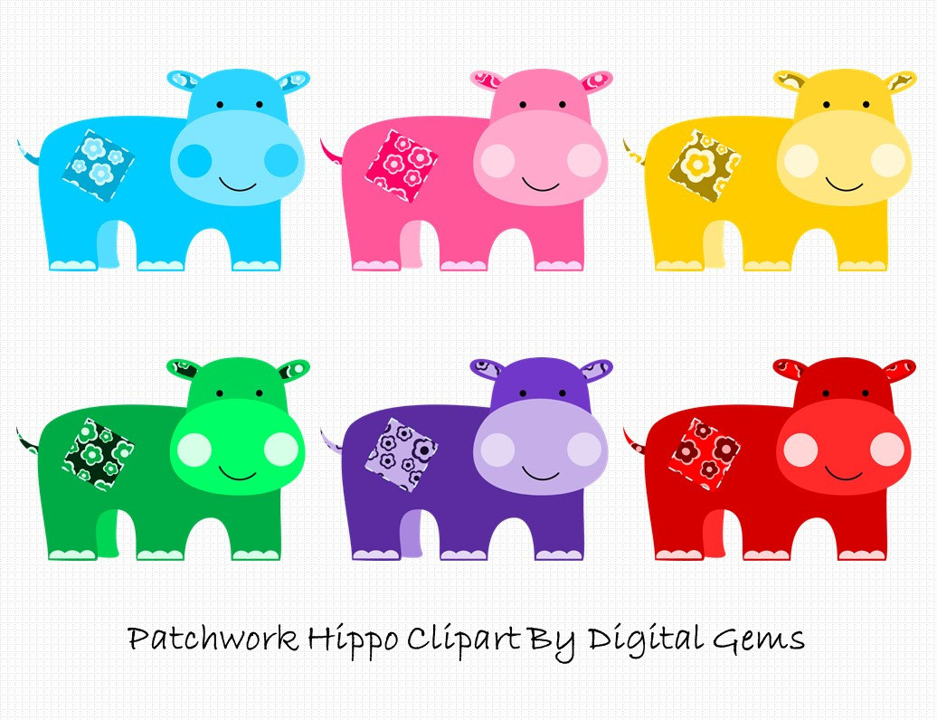 Baby Hippo Clipart, Cute Blue, Pink, Yellow, Green, Purple, Red.
