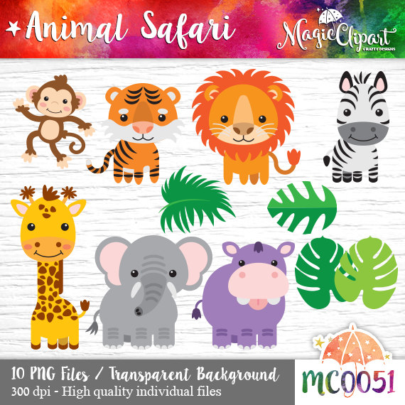 Animal Safari Clipart, PNG transparent background files, instant.
