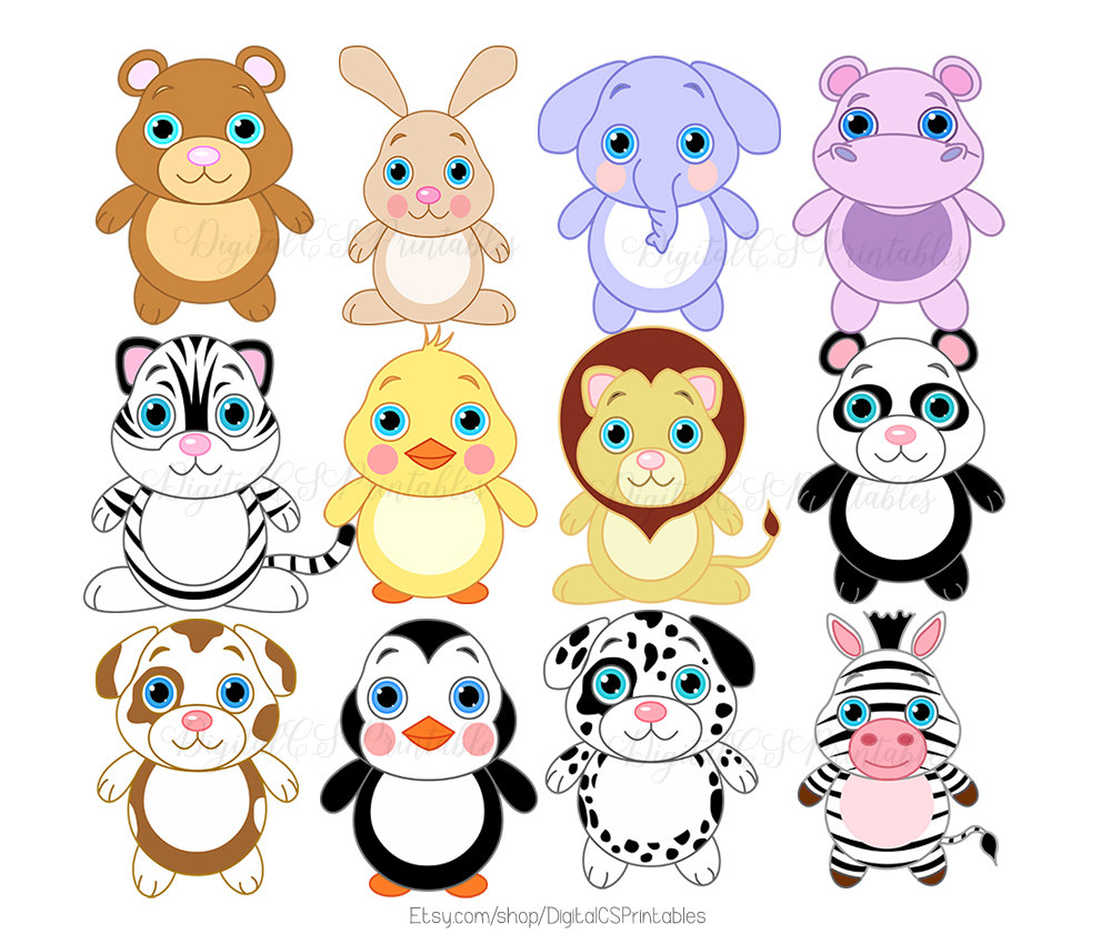 Cute Animal clipart Cute clipart Safari Animal clipart Kids.
