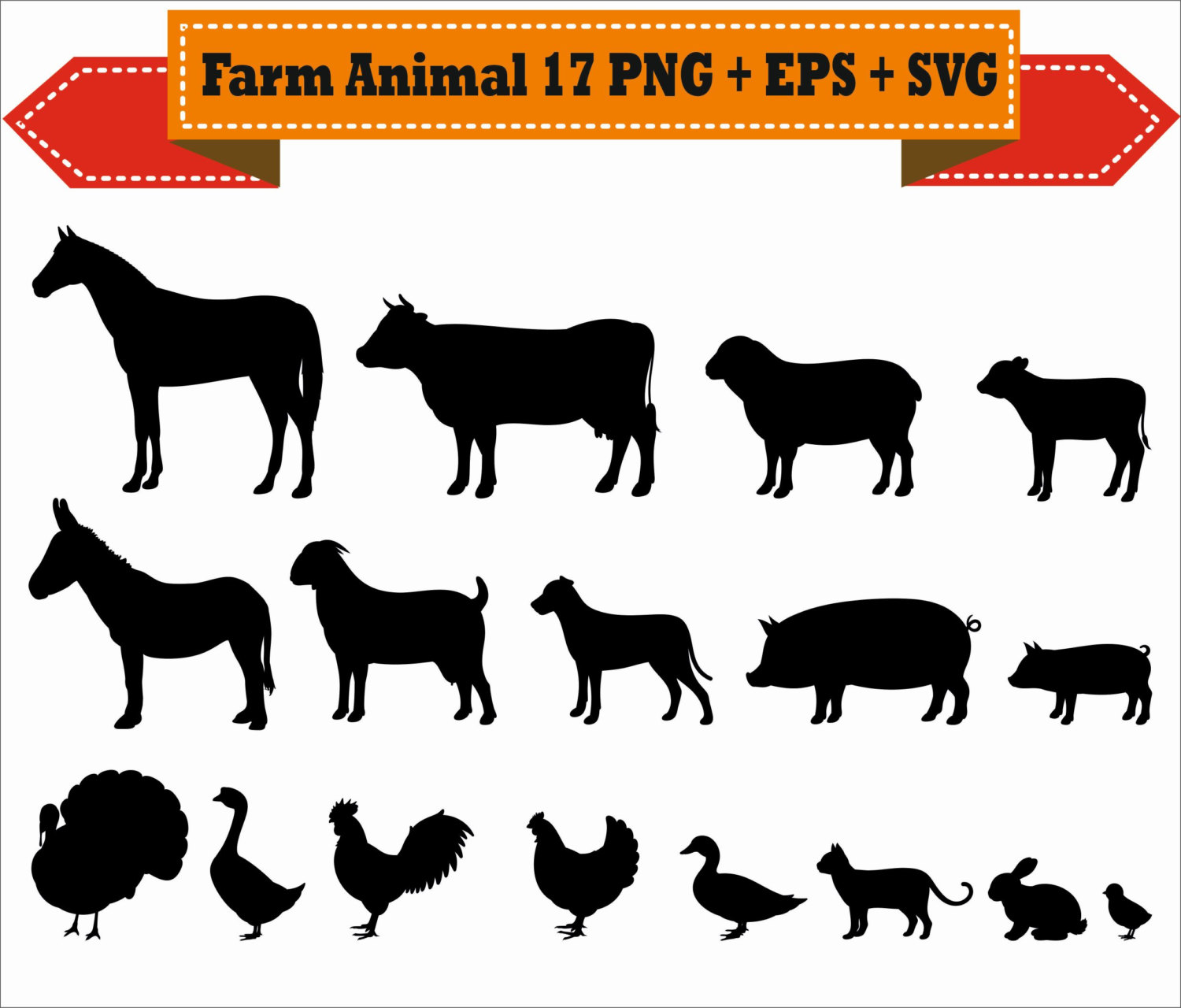 Farm Animal Chicken Duck Dog Cat Pig Horse Silhouette Vector.