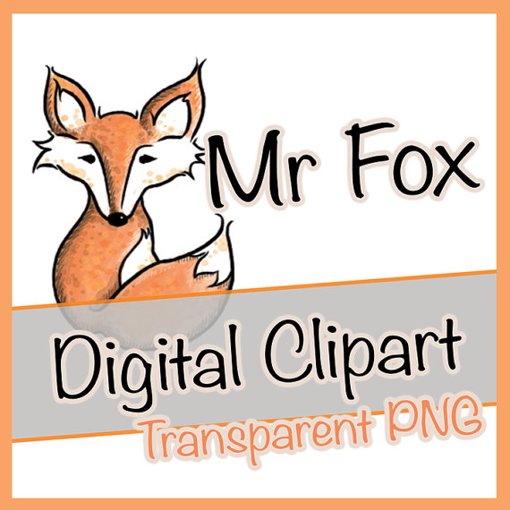 Fox Clipart Digital Clip Art Drawing Woodland Animal Animals Cute.