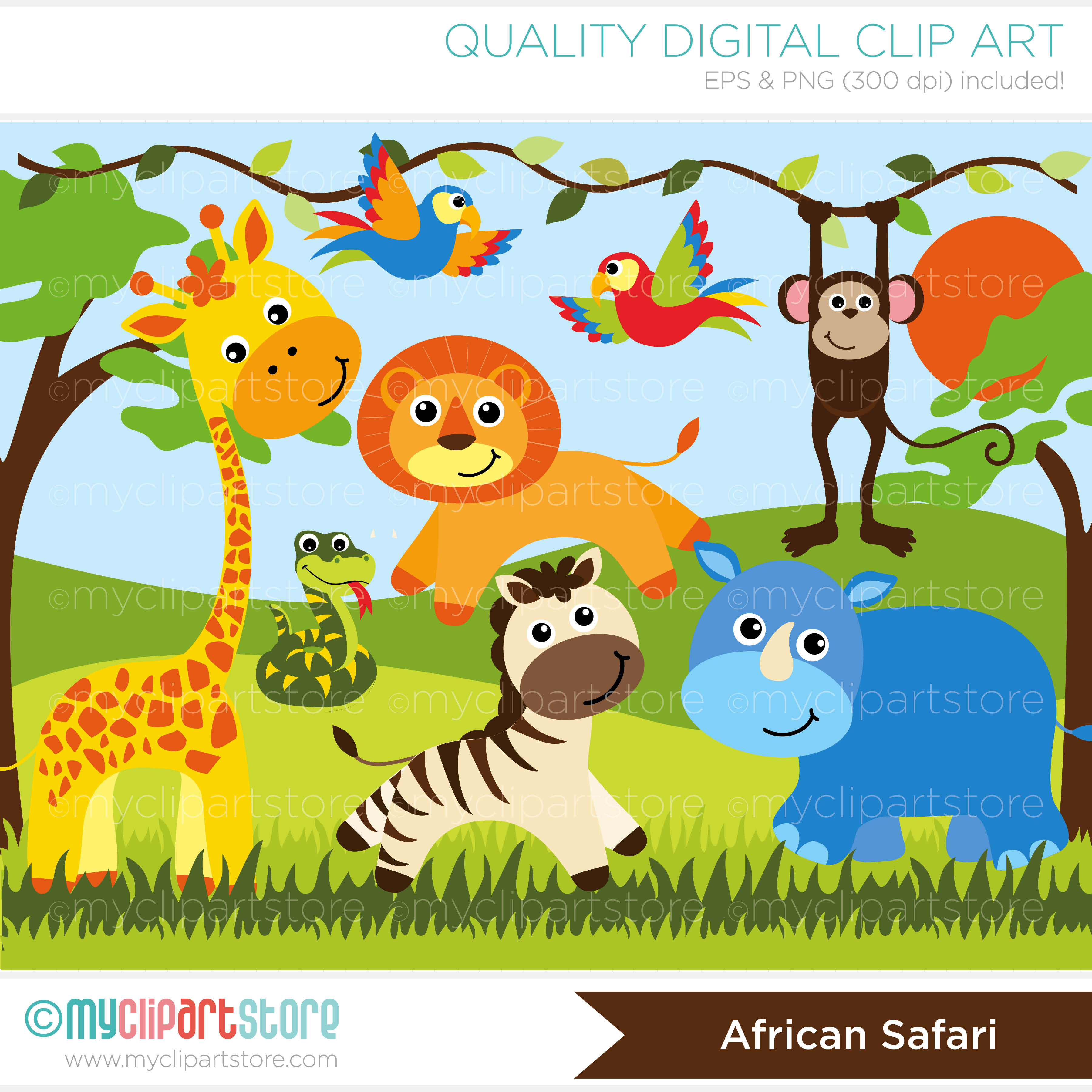 Jungle safari clipart.