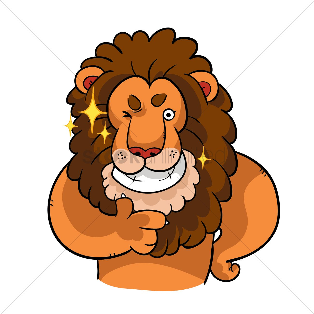 Cartoon lion with thumbs up gesture Vector Image.