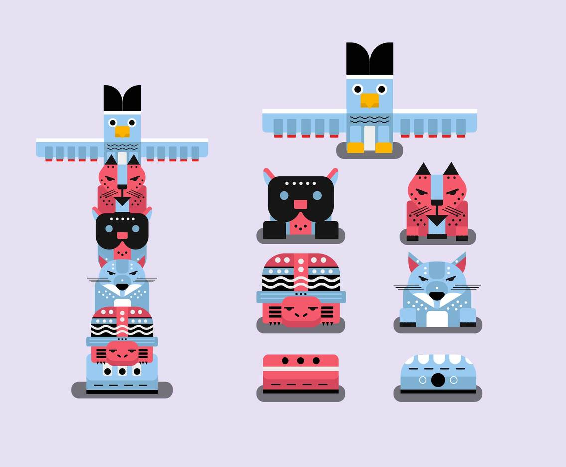 Animal Totem Pole Clipart Vector Vector Art & Graphics.