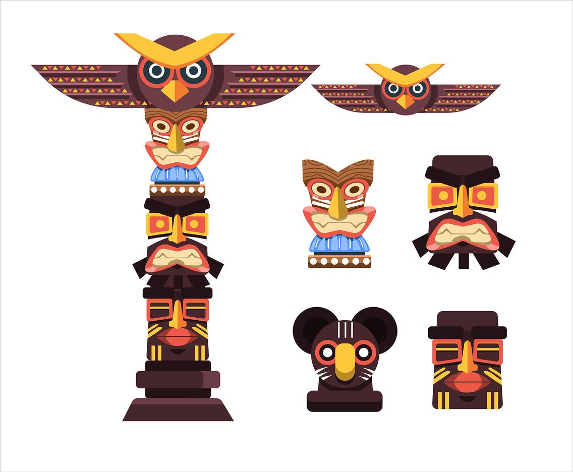 Totem Pole Clip Art Set Vector Art & Graphics.