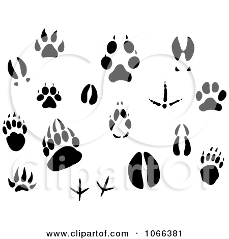 Clipart of a Seamless Background Pattern of Black Animal Tracks.