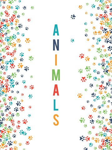 Colorful animal footprint ornament border isolated on white.