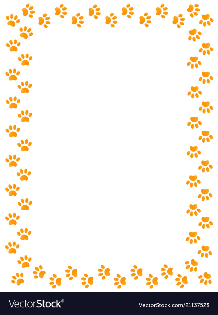 Yellow animal paw prints border frame.