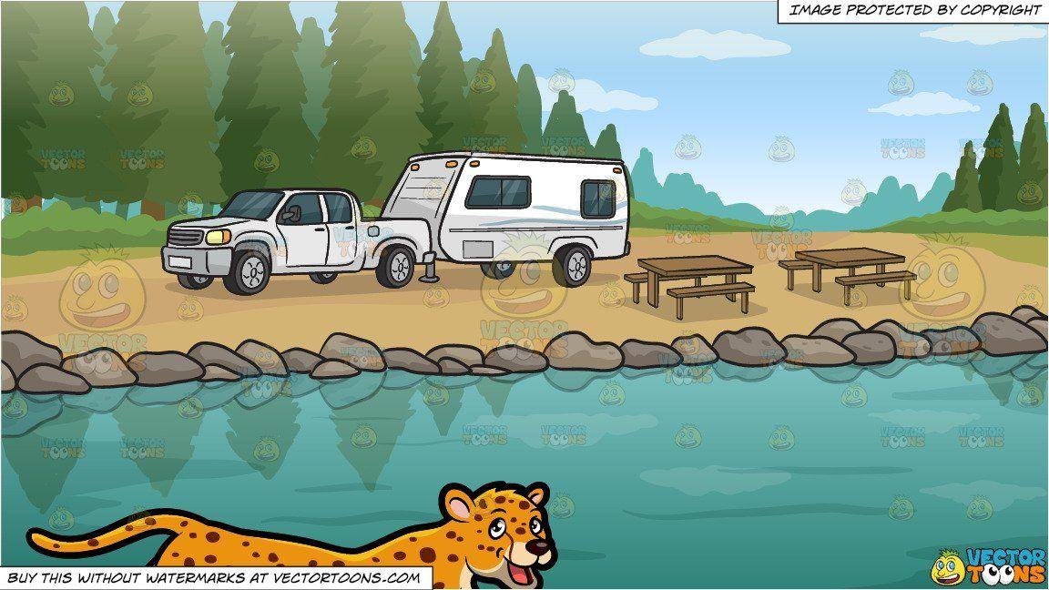 clipart #cartoon A Cheetah and A Lakeside Trailer Campsite.