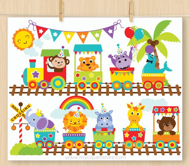 Animal Zoo Train Clipart.