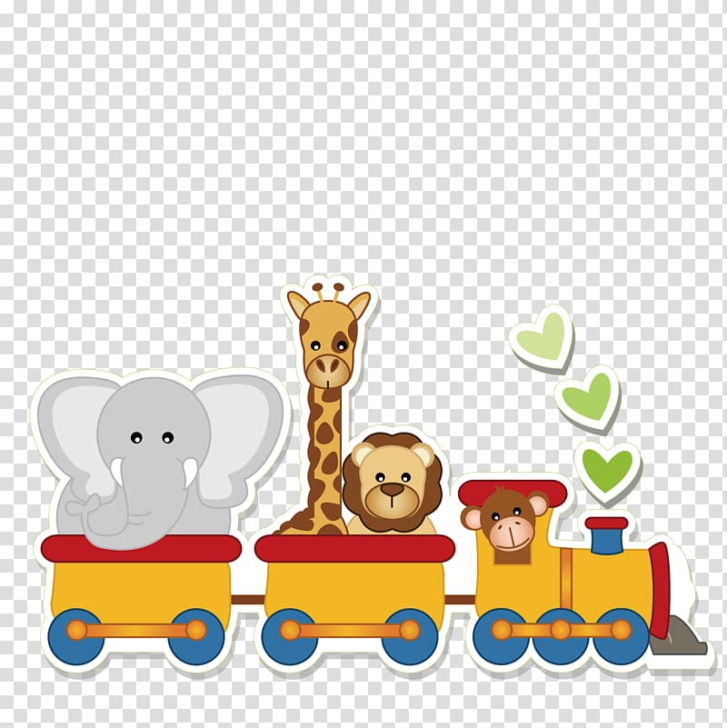 Animals on train illustration, Infant Child , Animal train.