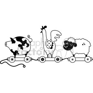Pull Toy Farm Animal Train clipart. Royalty.