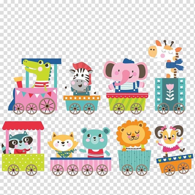 Animal riding cart , Birthday Greeting card Illustration.