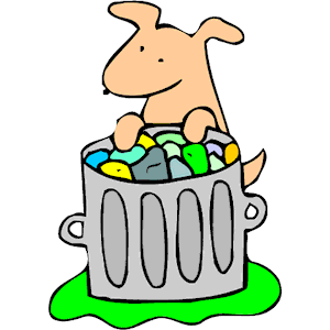 Dog in Trash Can clipart, cliparts of Dog in Trash Can free.