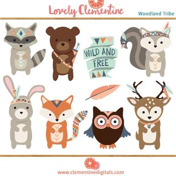 Woodland tribal animals clip art.