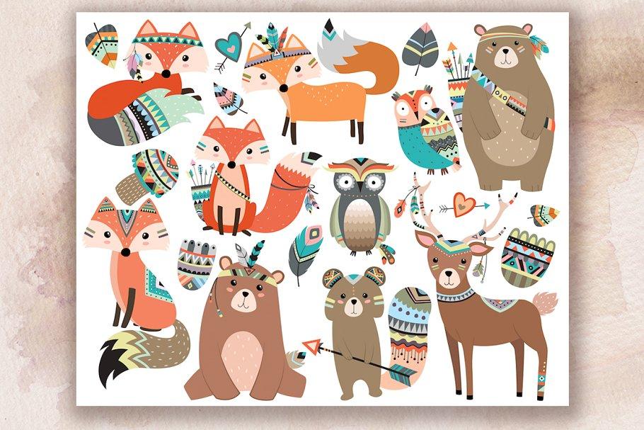 Woodland Tribal Animals V.2 Clipart ~ Illustrations.