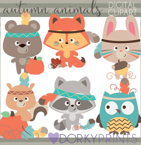 Tribal Animals Thanksgiving Clipart.