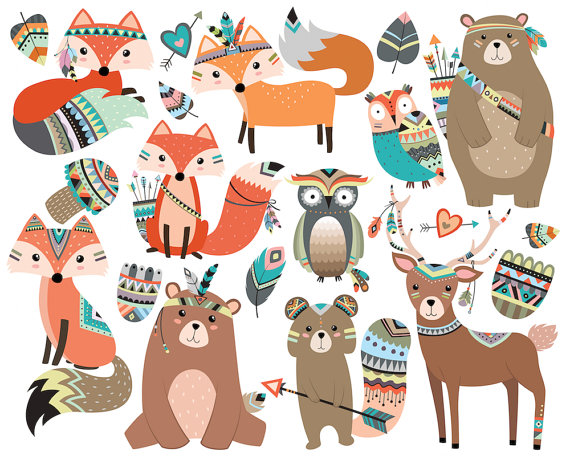Woodland Tribal Animals Clipart Vol. 2 Set of by.