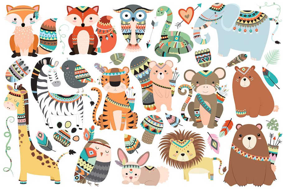 Tribal Animals 35 pc Clipart Set.