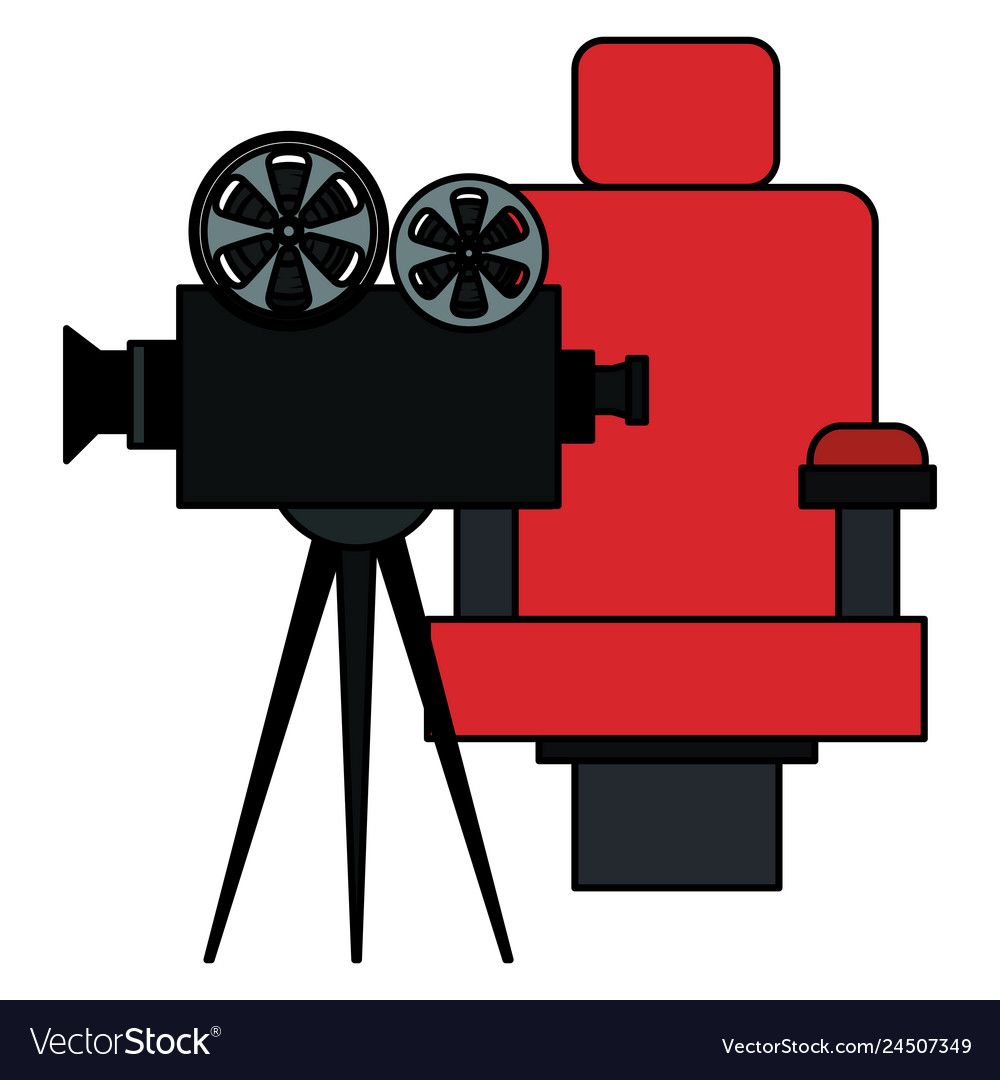 Cinema chair with video camera.
