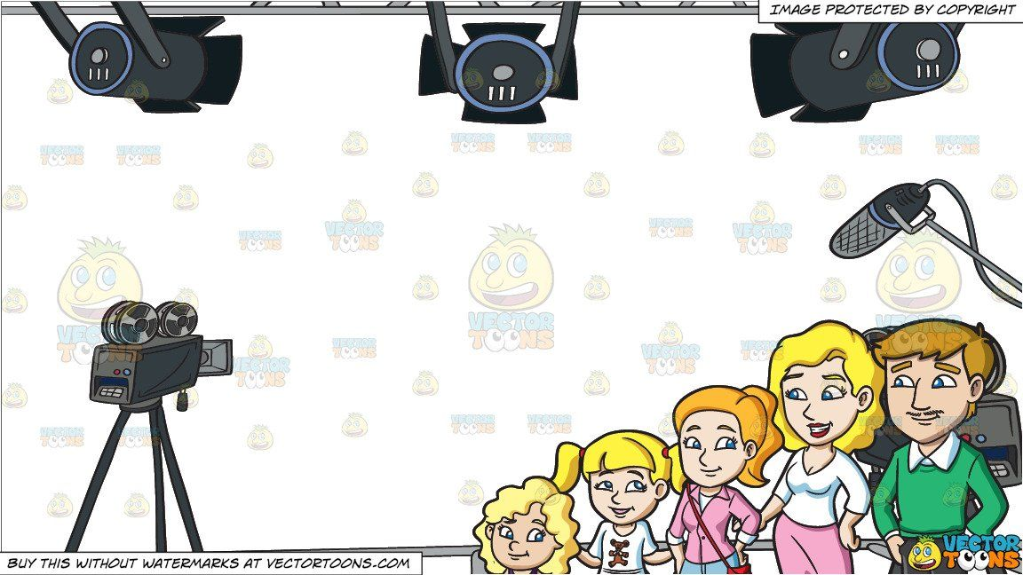 clipart #cartoon A Couple With Three Pretty Daughters and.