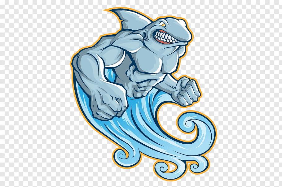 Shark with wave tail illustration, Shark Illustration.