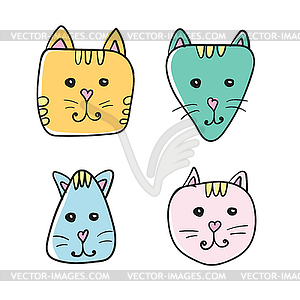 Simple, cartoon cat face icon. Four color variations.