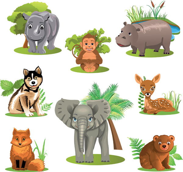 Variety of animals vector Free Vector / 4Vector.