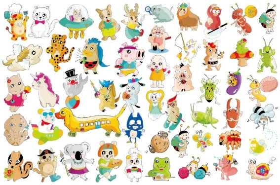A variety of super cute animals vector Free vector in Encapsulated.