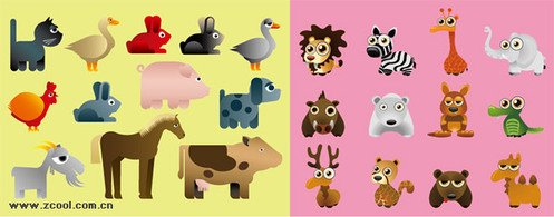 A variety of cartoon animals, vector graphics.