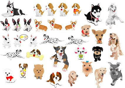 A variety of pet dog, Vector Graphic.