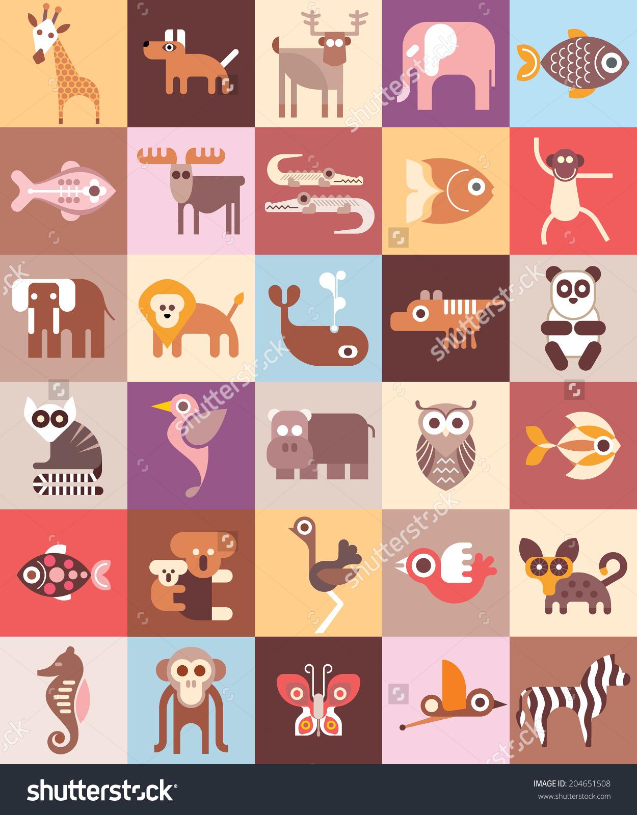 Zoo Animals Vector Illustration Graphic Design Stock Vector.