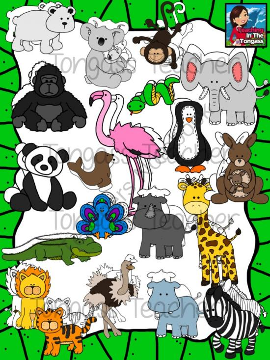 Zoo Animal Friends Clipart Bundle from tongassteacher on.