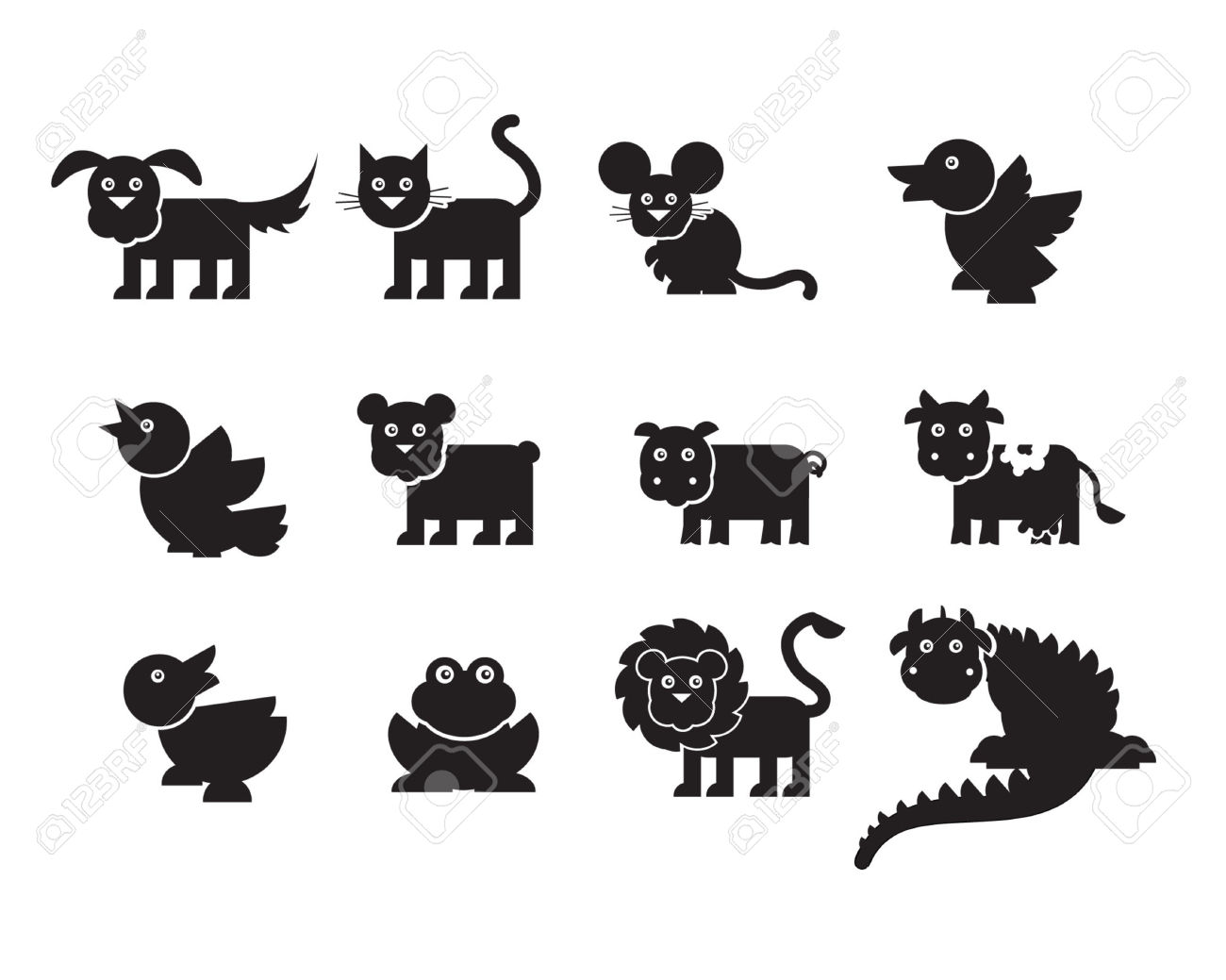 Variety Of Animals Silhouettes Royalty Free Cliparts, Vectors, And.