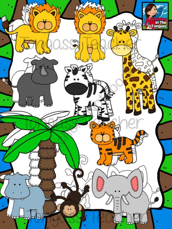 Jungle Animal Friends Clipart Bundle from tongassteacher on.