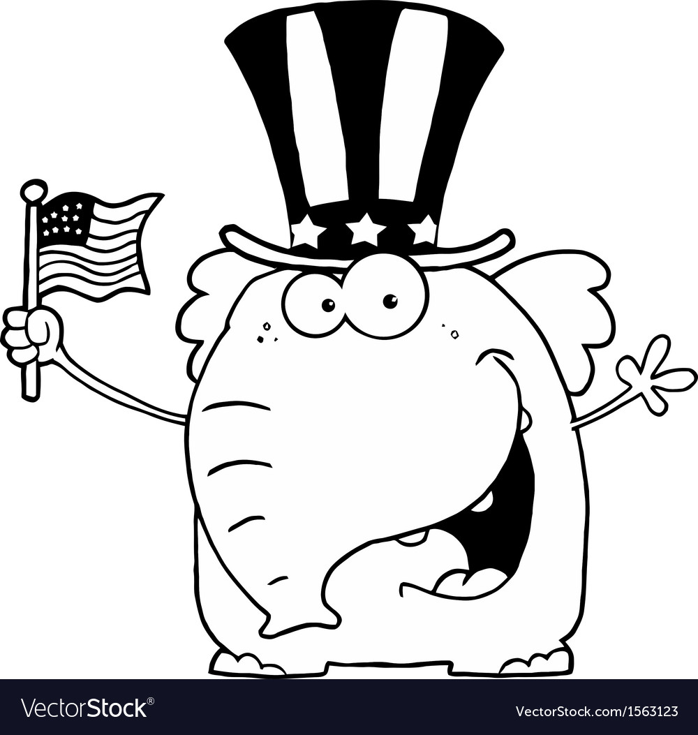 Royalty Free RF Clipart Patriotic Elephant Waving.