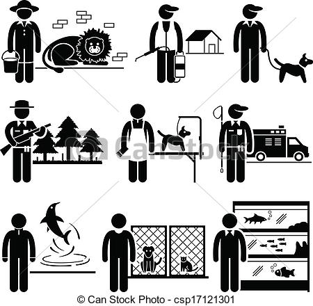 Vector Clipart of Animals Jobs Occupations Careers.