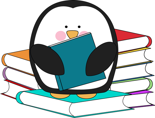 Penguin surrounded by books. Too cute, free clip art in.