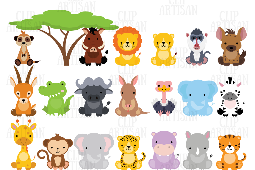 Safari Baby Animals Clipart Jungle Animals Zoo Animals.