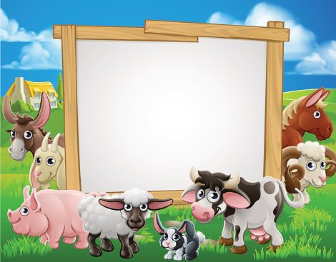 Farm Animals Cartoon Sign Clipart Image.
