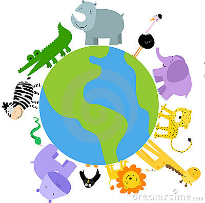 Animals around the world clipart.