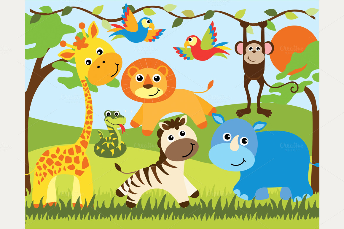 free baby safari animals clipart clipground