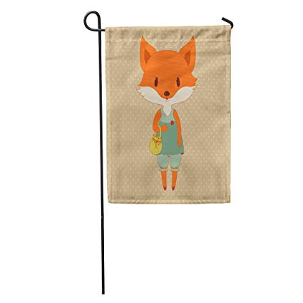 Amazon.com : KeepSports Garden Flag Orange Cute Retro Fox.